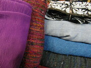 Various fabrics, dyed and overdyed, for Olympus, Angus Straithie designer